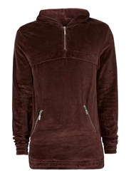 Topman Red Premium Burgundy Velour Classic Fit Hoodie