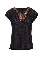 Morgan Beaded Collar Detail Knitted Top Black