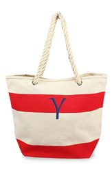 Cathy's Concepts Personalized Stripe Canvas Tote Red Red Y