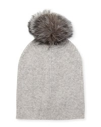 Neiman Marcus Cashmere Slouchy Fox Fur Pompom Hat Light Gray