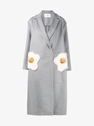 Anya Hindmarch Eggs Oversized Virgin Wool Cashmere Blend Coat Grey Brown White Mink