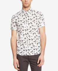 Kenneth Cole New York Men's Palm Print Short Sleeve Shirt White Combo