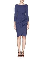Armani Collezioni Ruche Side Mock Wrap Front Dress Blue