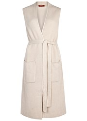 Max Mara Sand Ribbed Wool And Cashmere Blend Gilet Beige