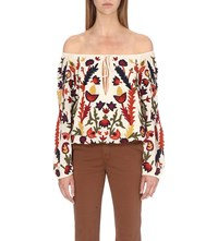 Alice Olivia Naya Embroidered Woven Off The Shoulder Top Cream Multi