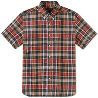 Beams Plus Short Sleeve Madras Shirt Red