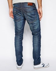 Selected Slim Fit Jeans With Heavy Wash Mid Blue