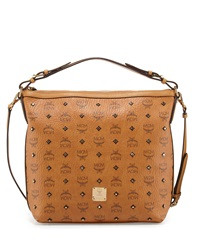 Gold Visetos Hobo Bag Cognac Mcm