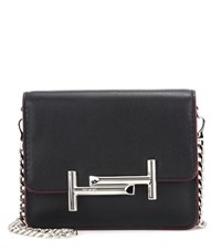 Tod's Double T Mini Leather Clutch Black