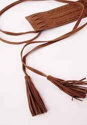 Missguided Double Wrap Embroidered Belt Tan Brown