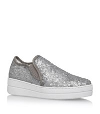 Kurt Geiger Louie Sequin Flatform Sneakers Female Silver