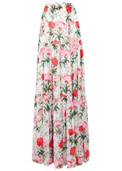 Erdem Sigrid Floral Print Silk Maxi Skirt White And Red