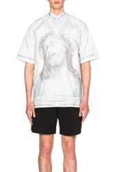 Givenchy V Neck Jesus Tee In Blue Abstract