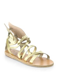 Ancient Greek Sandals Nephele Angel Metallic Leather Wing Gladiator Sandals Gold