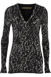 Enza Costa Printed Cotton And Cashmere Blend Sweater Black