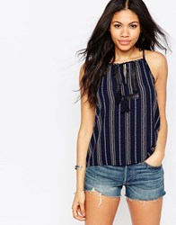 Daisy Street Cami Top With Tassel Tie Black