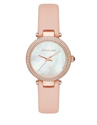 Michael Kors Mother Of Pearl Leather Strap Watch Pink