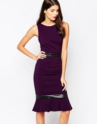 Vesper Leah Midi Dress With Fluted Hem Purple
