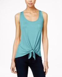 Pretty Rebellious Juniors' High Low Tie Front Tank Top Blue Tint