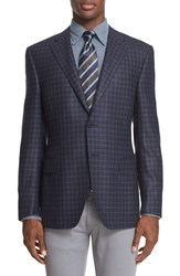 Canali Men's Big And Tall Classic Fit Check Silk And Wool Sport Coat Navy