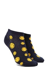 Forever 21 Winking Face Print Ankle Socks Navy Multi
