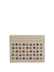 Christian Louboutin Kios Simple Spike Embellished Leather Cardholder Grey