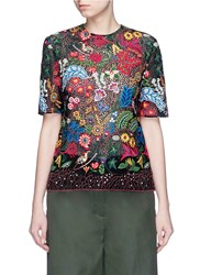Valentino 'Water Song' Floral Embroidery Macrame Lace Top Multi Colour
