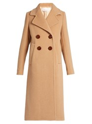See By Chloe Double Breasted Wool Blend Coat Camel
