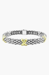 Lagos 'X' Two Tone Rope Bracelet Sterling Silver Gold