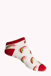 Forever 21 Over The Rainbow Ankle Socks Red Multi