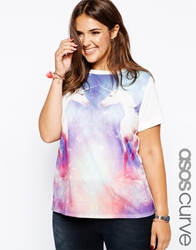 Asos Curve Exclusive T Shirt With Unicorn Print