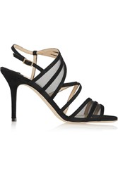 Jimmy Choo Vora Suede And Mesh Sandals Black