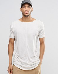 Asos Super Longline T Shirt With Raw Edges In Linen Mix Fabric With Boat Neck Oatmeal Beige