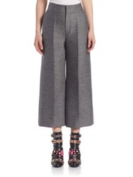 Lanvin Cropped Wool Blend Trousers Grey