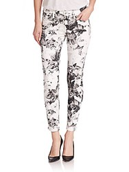 7 For All Mankind Floral Print Ankle Skinny Jeans White Multi