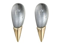 Alexis Bittar Liquid Metal Capped Spike Post Clear Lucite Earrings Cool Grey Clear