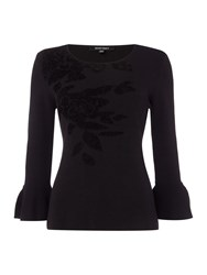 Ellen Tracy Floral Placement Jumper With Bell Sleeve Black