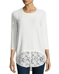 Neiman Marcus Lace Trim Waffle Knit Sweater Ivory