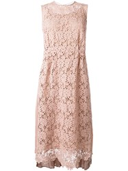 Muveil Embroidered Front Dress Pink And Purple