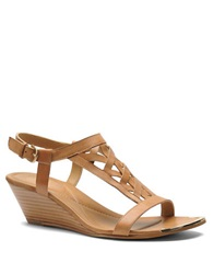Isola Parvati Leather Wedge Sandals Brown