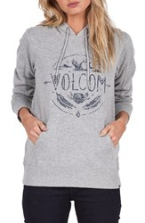 Volcom Women's Barrel Out Graphic Hoodie Grey Heather