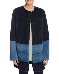 Maximilian Furs Color Block Long Hair Mink Coat Bloomingdale's Exclusive Dark Gray Blue