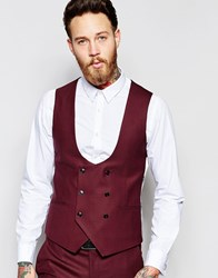 Noose And Monkey Double Breasted Waistcoat With Stretch In Skinny Fit Red