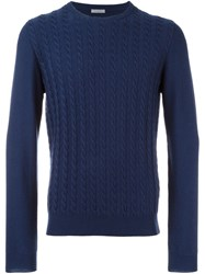 Malo Cable Knit Long Sleeve Sweater Blue