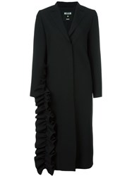 Msgm Ruffle Detail Coat Black