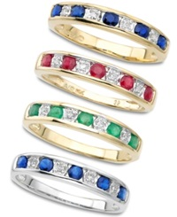 Macy's 10K White Gold Sapphire And Diamond Stackable Ring