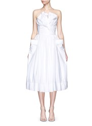 Maticevski 'Magic Heart' Structured Bow Poplin Strapless Dress White