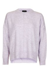 Topshop Petite Zip Side Crew Neck Knitted Jumper Lilac