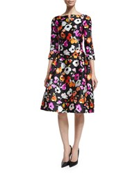 Oscar De La Renta 3 4 Sleeve Mixed Poppy Print Dress Black