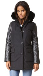 Woolrich Leather Arctic Parka Black